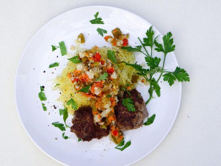Super Easy Italian Meatballs and Giardiniera on Spaghetti Squash Recipe - gluten free, dairy free, grain free and delicious!