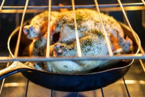 Simple Whole Roasted Herb Chicken Recipe - Just 5 minutes of active time and 1 hour baking for this clean eating head-to-toe recipe