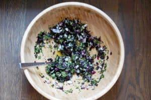 Fresh garden herbs and juicy watermelon make this savory watermelon basil salad recipe a perfect side dish for hot summer days. Dairy, Grain, Gluten Free + Vegan