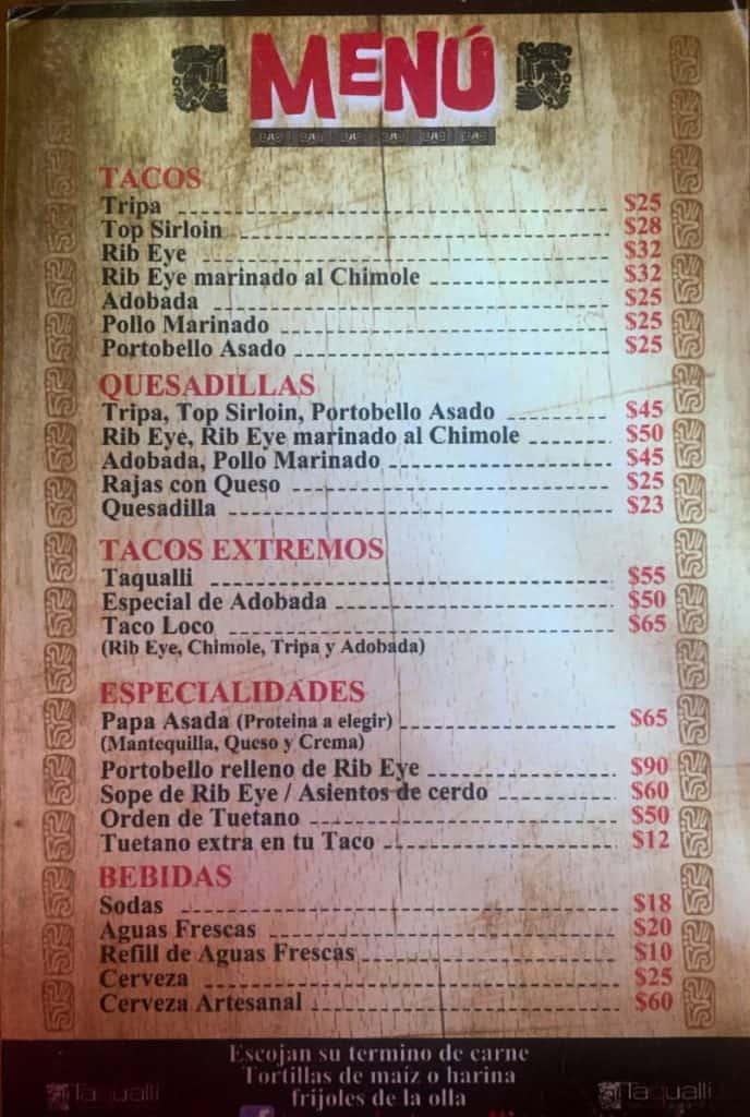 Taco Menu in Tijuana: When travelling to San Diego, why not make a taco run from San Diego to Tijuana? Here's a quick guide on crossing the border by foot and finding tacos.