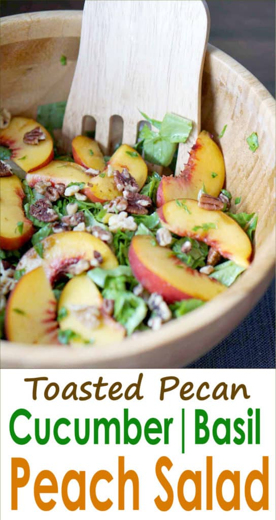 Juicy summer peaches and fall inspired toasted pecans make this This toasted pecan, cucumber, basil, and peach salad super fresh and perfect for dinner. Healthy, gluten free, dairy free, sugar free