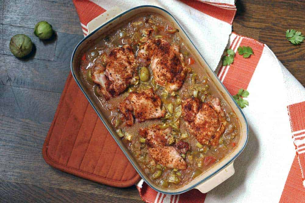 A foolproof recipe for weeknight dinners or to bring for a meal train, this amaranth and tomatillo chicken bake is loaded with protein, vitamins,and flavor.