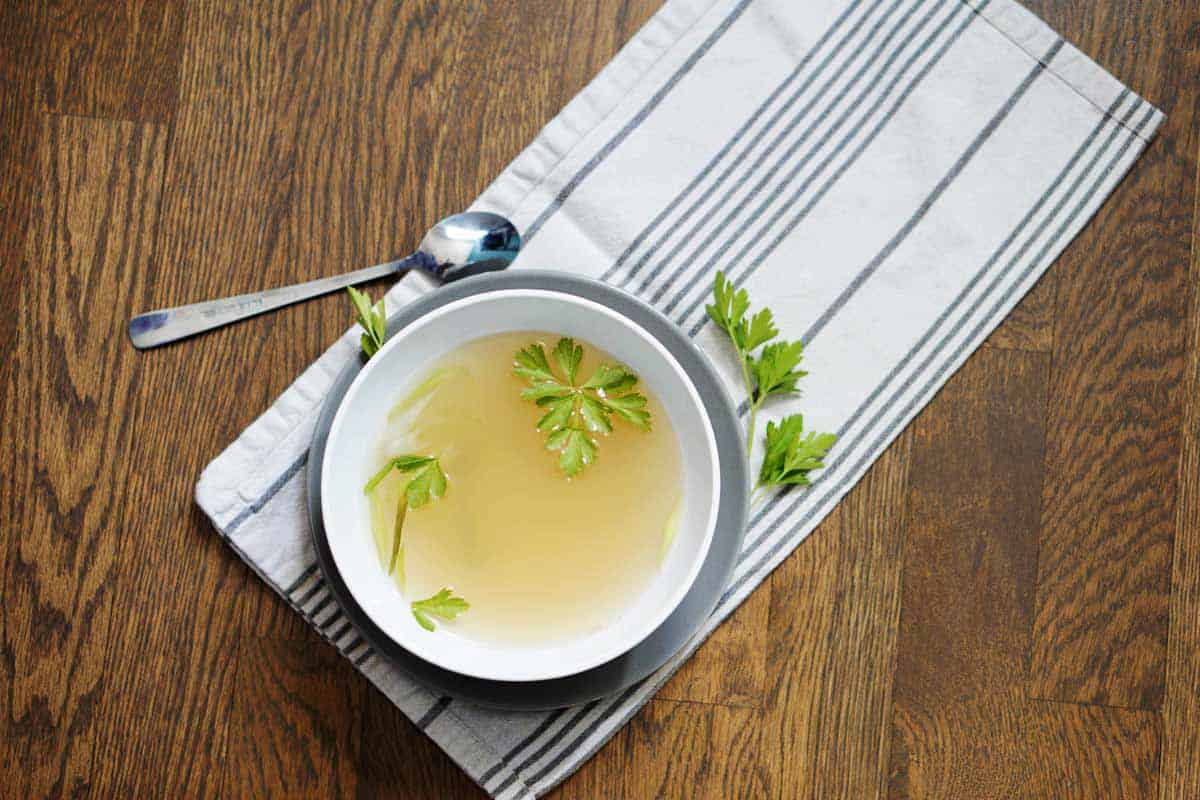 Simple bone broth, made at home with minutes of active time. Have 5 minutes? you can make bone broth from scratch