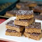 Stacked Chocolate walnut oat bars