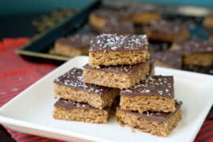 Grandma's classic English Toffee Bars transformed into a healthier and more delicious version. Melt in your mouth goodness that's gluten, dairy and refinedsugar free.