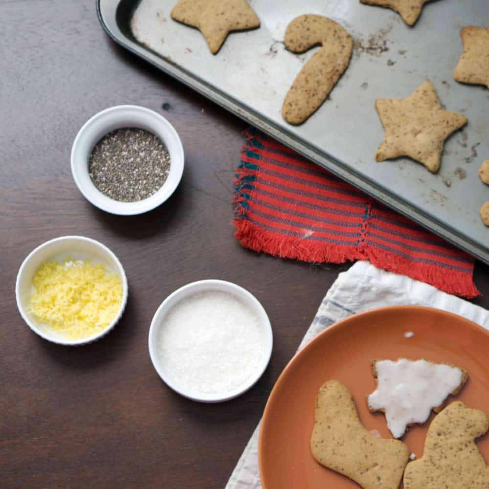 healthy gluten free cut out cookies need upgraded sprinkles - these use real food to decorate, including chia seeds, coconut flakes and lemon zest.