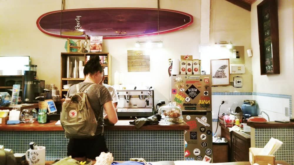 Surf shops aren;t just for coffee, grab an espresso at their coffee bars too. Pictured here is San Juan Surf