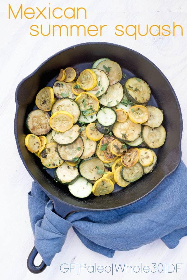 Mexican summer squash is a light, savory and slightly spiced side dish inspired by the street food of Mexico and designed for spring nights and summer barbeques. Quick, easy, ready in minutes, and bound to step-up your steak game.