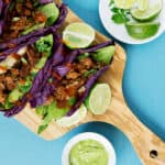 Purple Cabbage laves make an excellent shell for these chorizo cabbage tacos