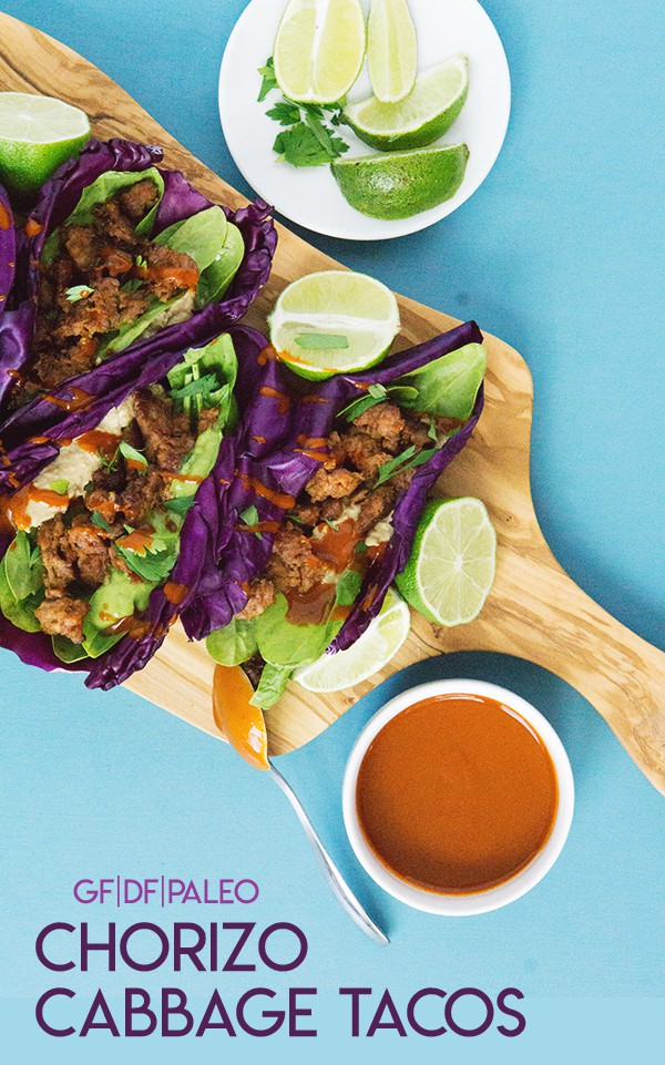 Purple Cabbage laves make an excellent shell for these chorizo cabbage tacos. Paleo, gluen free, grain free, and clean eating recipe for tacos