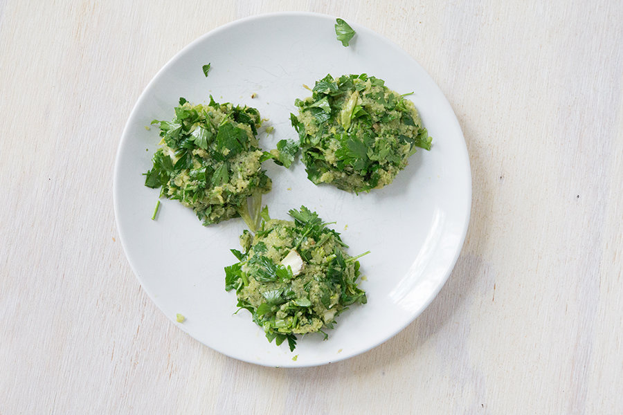 Celery Juice Pulp Fritters using leftover celery juice pulp to make a healthy paleo breakfast, before frying