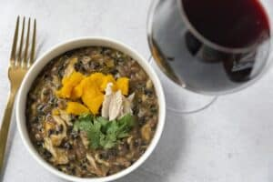 pumpkin black rice risotto (10) with red wine and golden fork