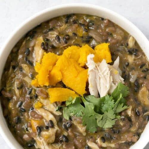 pumpkin black rice risotto with pumpkin and parsley