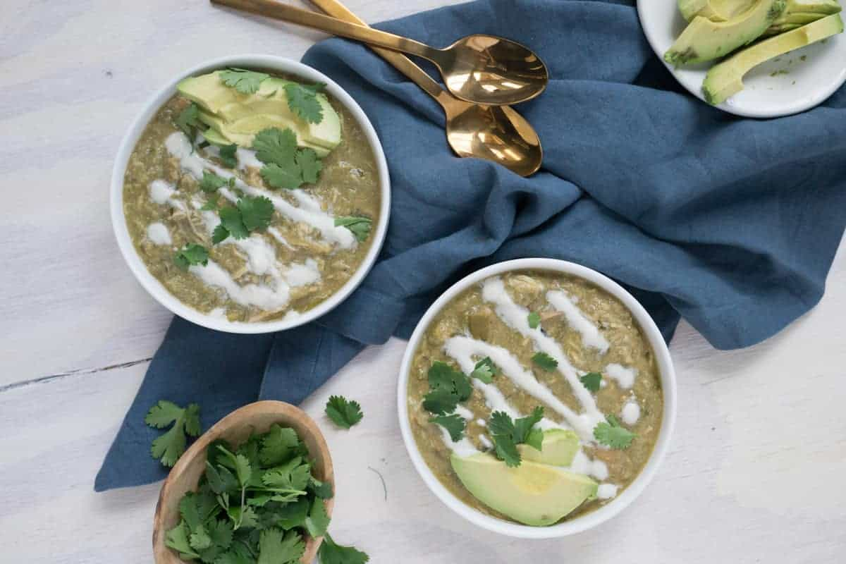 White chili with crema, avocado and cilantro
