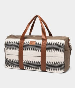 Sustainable and fair trade weekender bag with amazing hand-stitched designs.