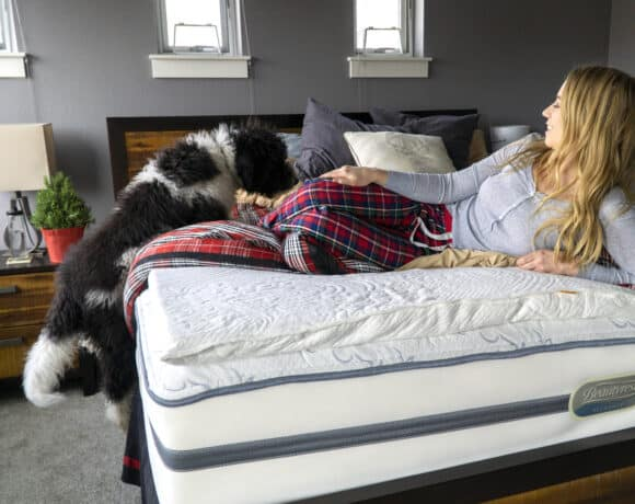 Girl and dog getting ready for bed