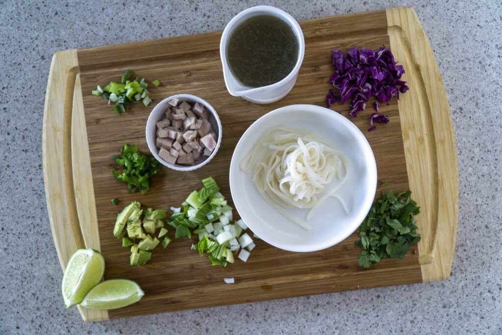 Prepared ingredients for the Pho Bowl