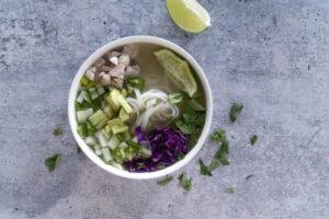 Clean Pho Bowl with lime and cilantro