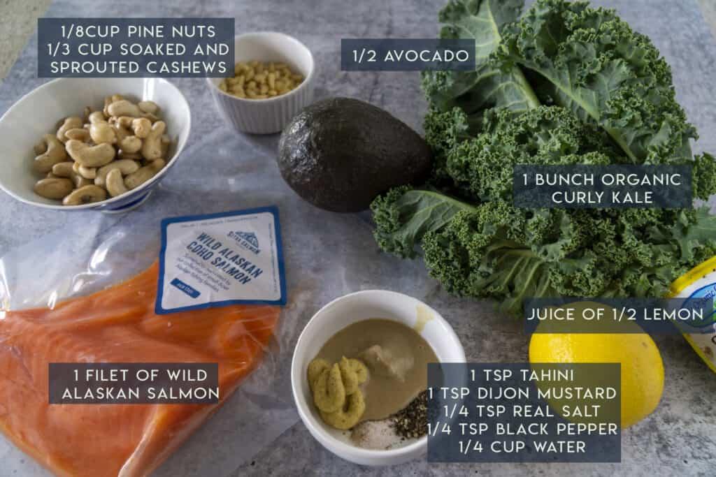 Salmon Kale Caesar Ingredients