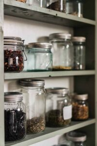 A clean pantry using mason jars to store bulk foods