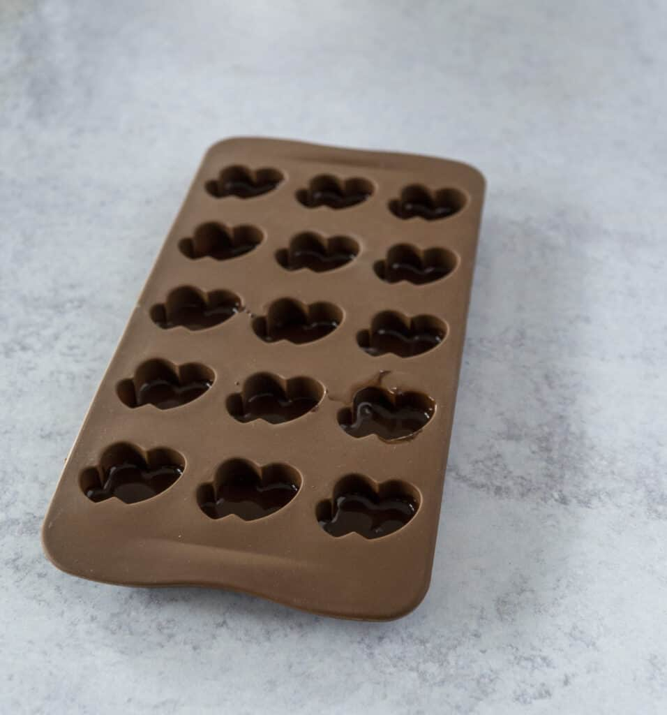 Heart Molds with First layer of Chocolate