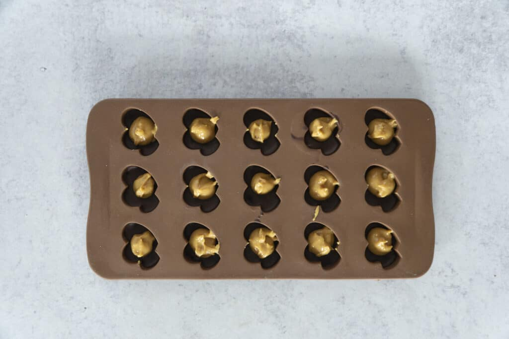 Peanut Butter Balls in Chocolate Molds