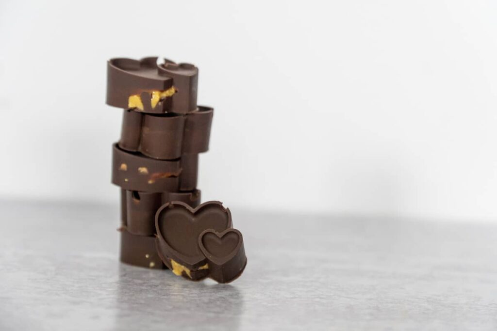 Stacked Chocolate Peanut Butter Cup Hearts wide