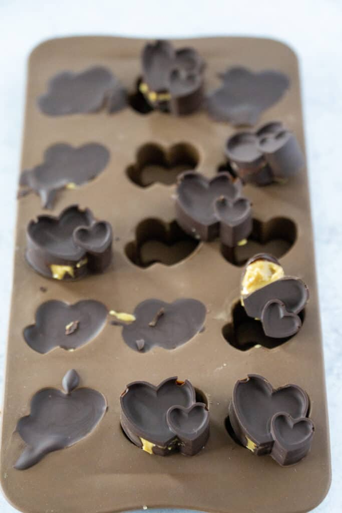 Chocolate Peanut Butter Cup Hearts in Molds