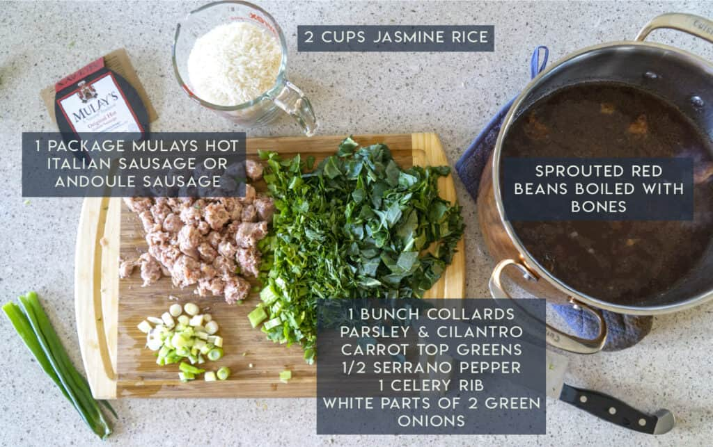 Red Beans and Rice chopped ingredients