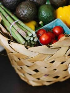 basket of fresh vegetable groceries