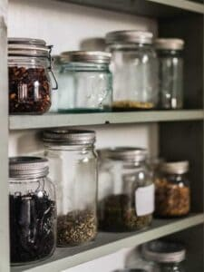 clean pantry using mason jars to store bulk foods