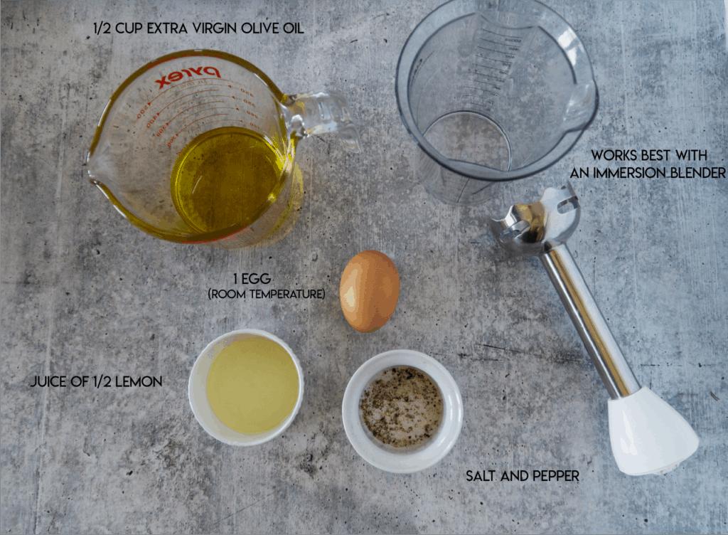 "Aioli Ingredients"" egg, lemon juice, ovile oil and salt and pepper"