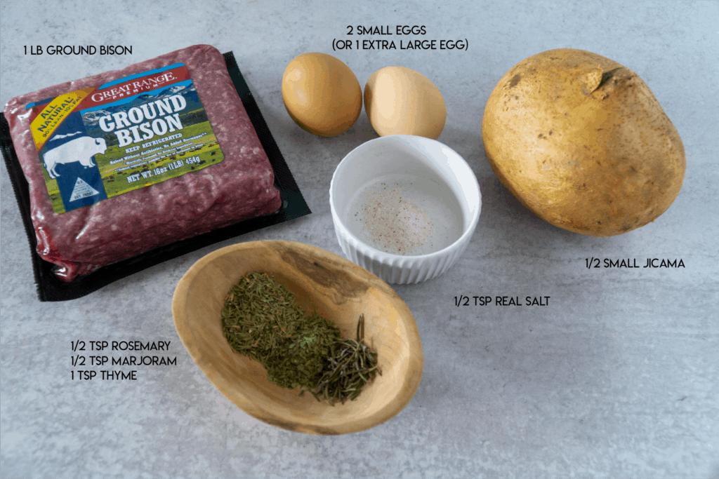 Bison Jicama Meatball Ingredients