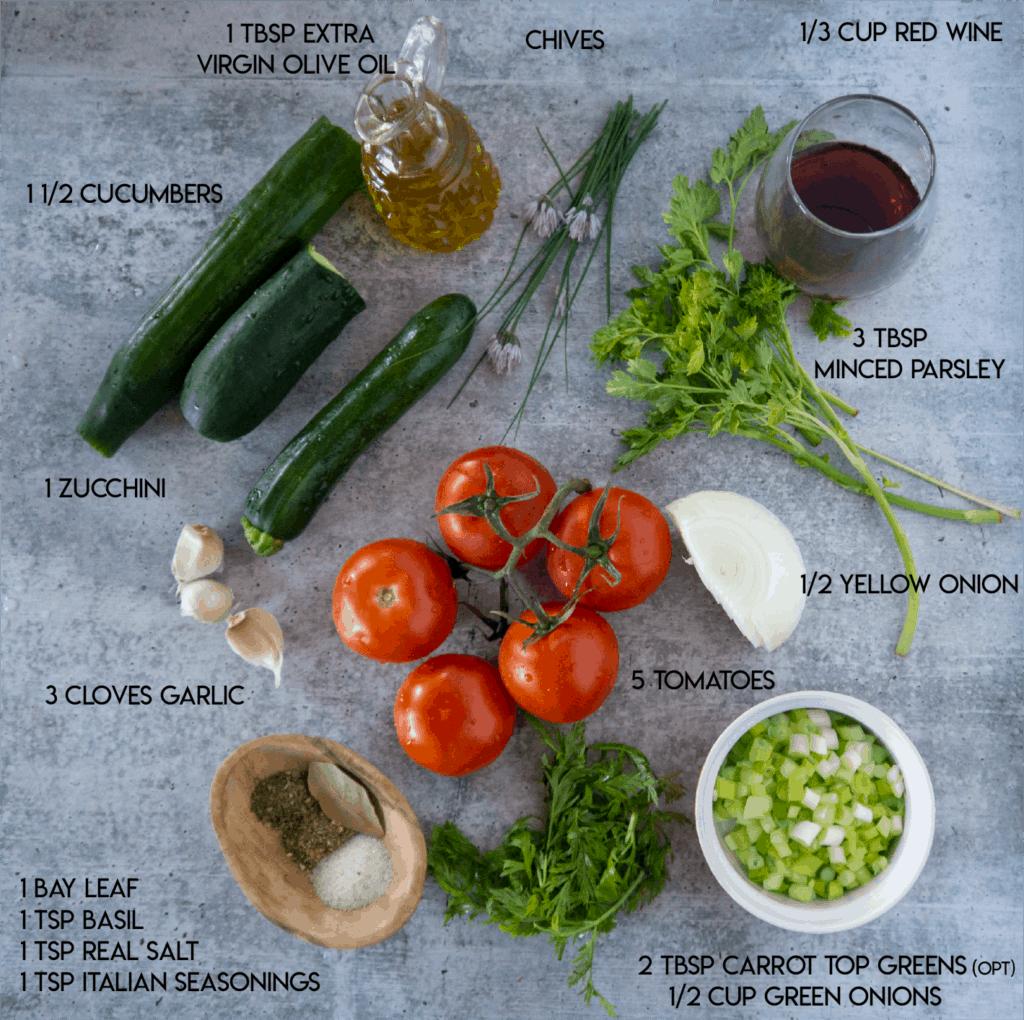 Cucumber Ratatouille Ingredients