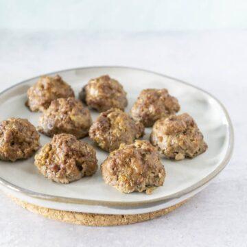 side angle of bison jicama meatballs on white plate