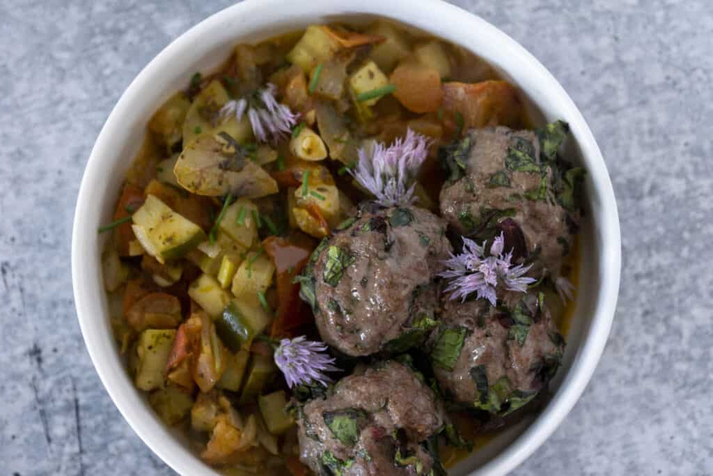 Cucumber Ratatouille with Beet Green Meatballs