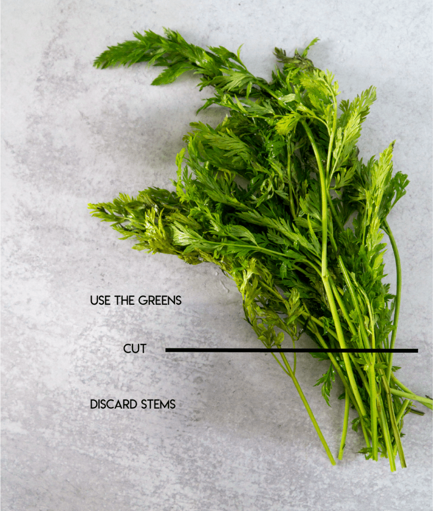 Diagram showing how to cut carrot top greens and discard stems