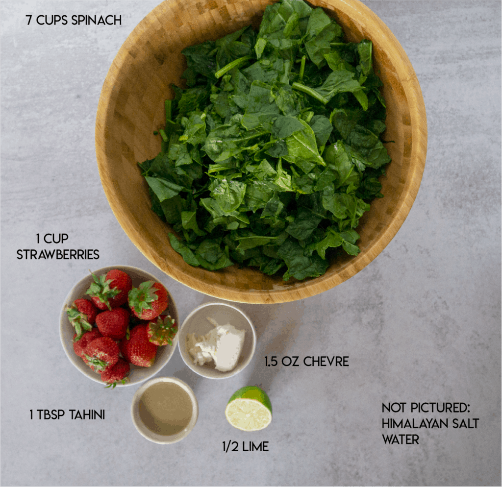 Strawberry Spinach Salad Spinach strawberries chevre tahini lime Ingredients