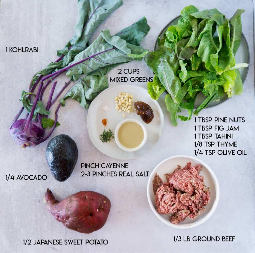 Fig and Tahini Burger Bowl Ingredients