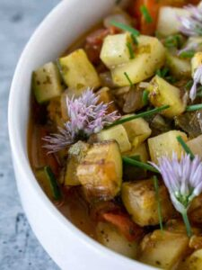 Cucumber Ratatouille with chive blossoms