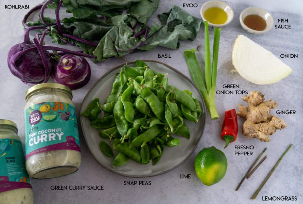 Snap Pea and Kohlrabi Green Curry Ingredients