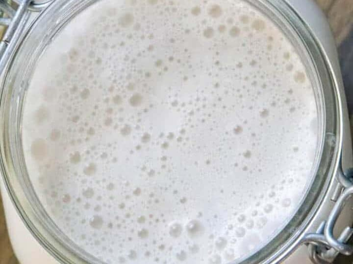 walnut milk in mason jar