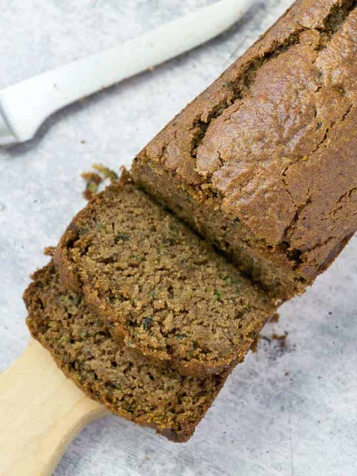 loaf of sliced gluten free zucchini bread