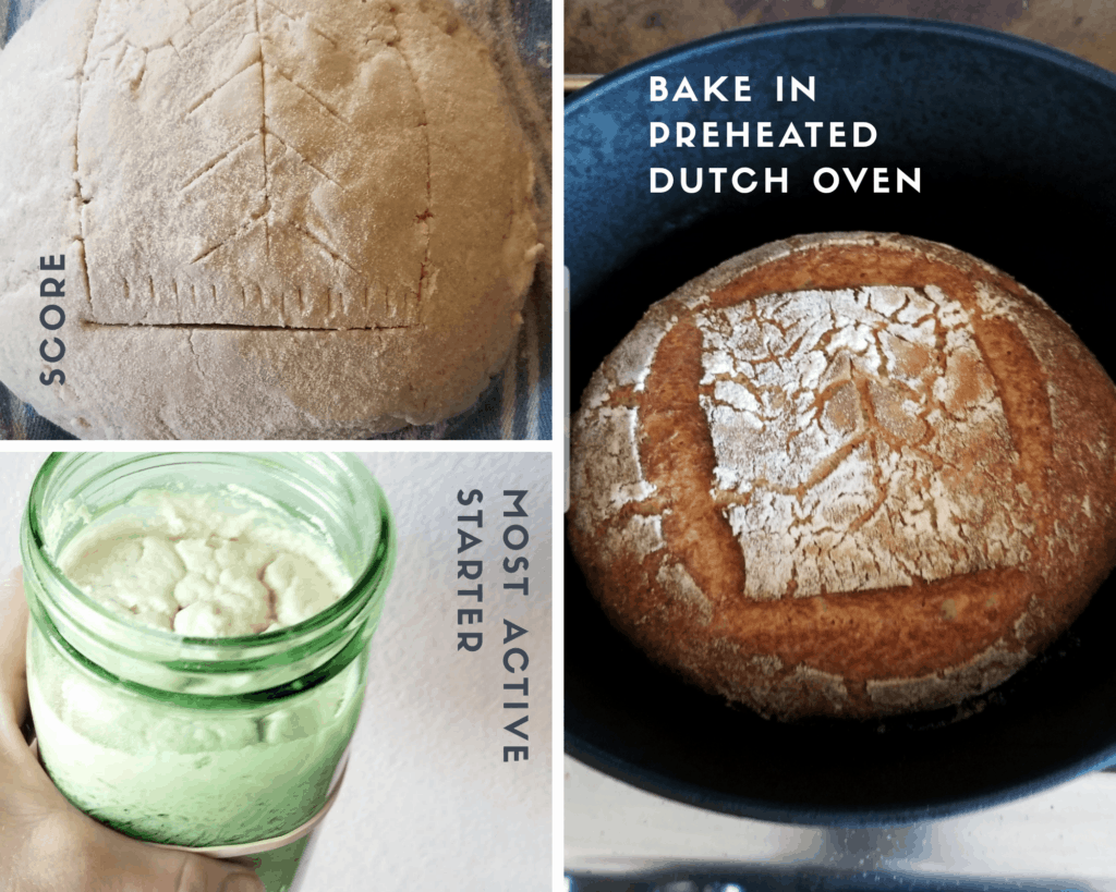 Active Starter, Score, Bake in Dutch Oven