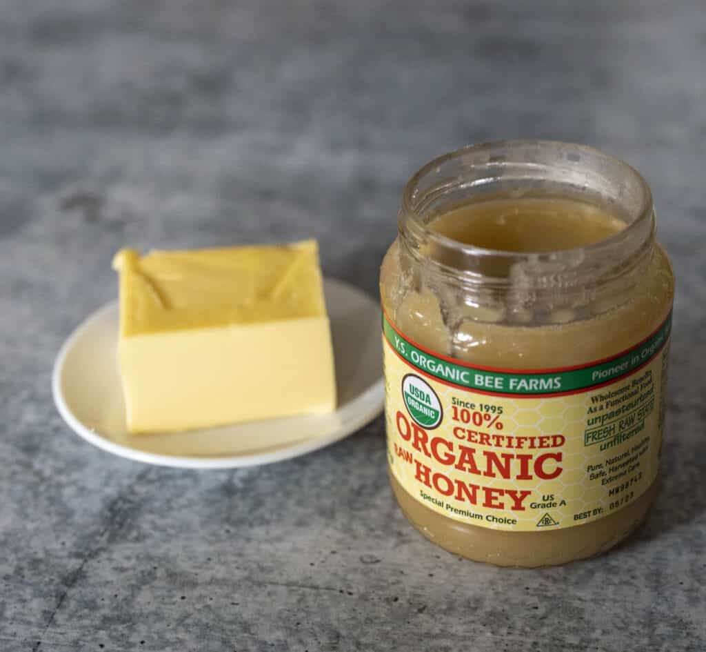 Raw organic honey and butter