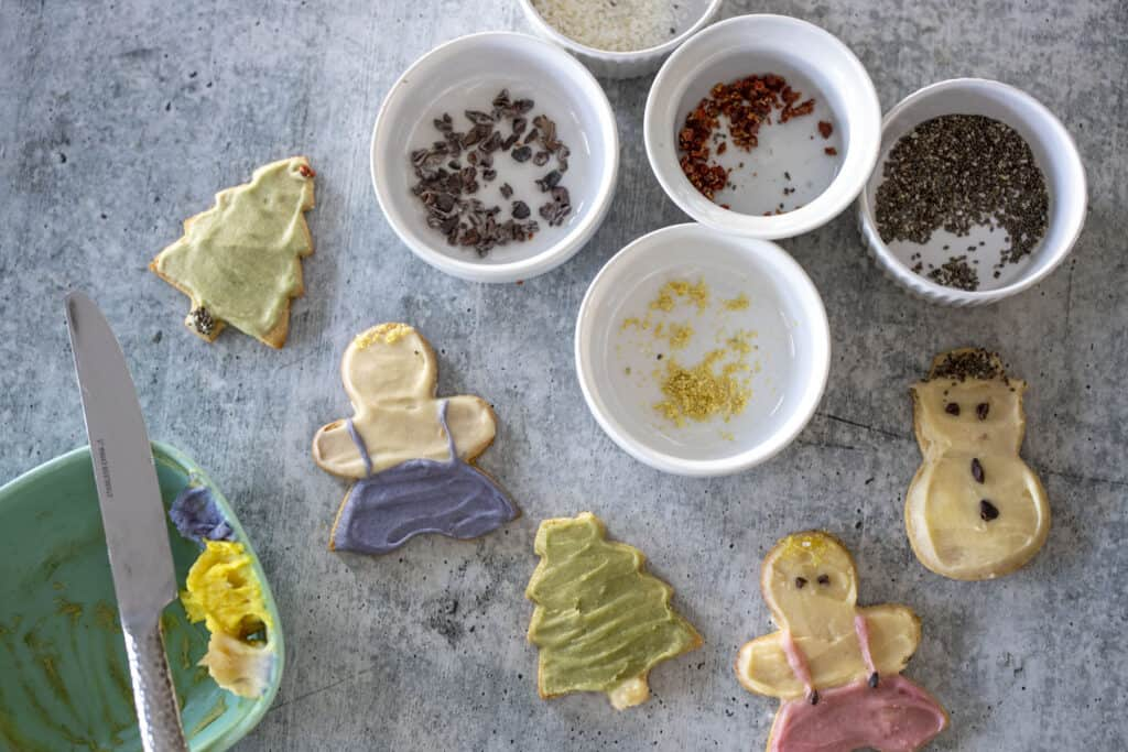 Naturally colored nad decorated cut out cookies